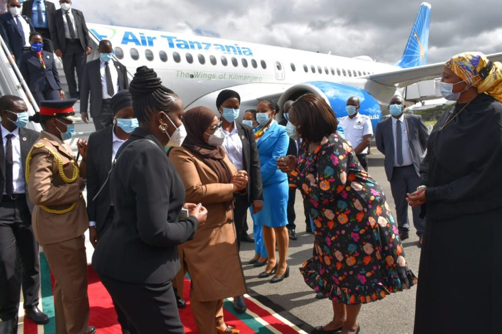 Tanzania President Suluhu Hassan arrives in Kenya for two-day visit